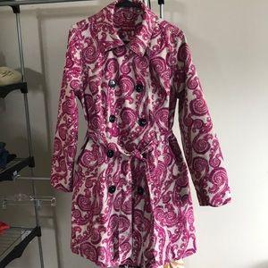 Pea Coat Style Rain Coat Pink Paisley